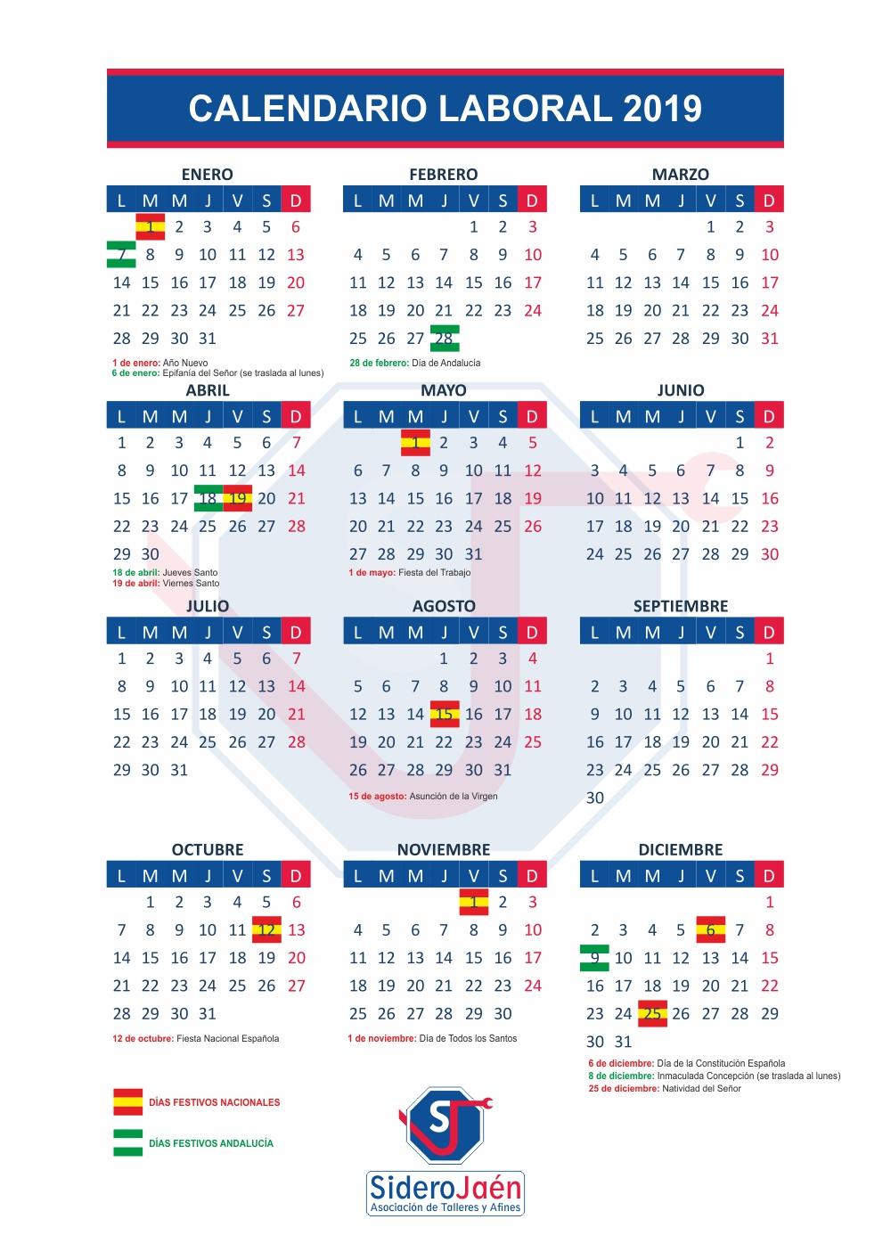 Calendario Laboral 2019 Andalucia.Calendario Laboral 2019 Siderojaen
